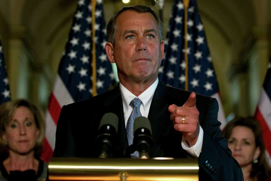 House Speaker John Boehner, R-Ohio, takes questions about the sequester, those mindless spending cuts that the House-approved bill would lock in.  Photo: Andrew Harrer, Bloomberg / © 2013 Bloomberg Finance LP