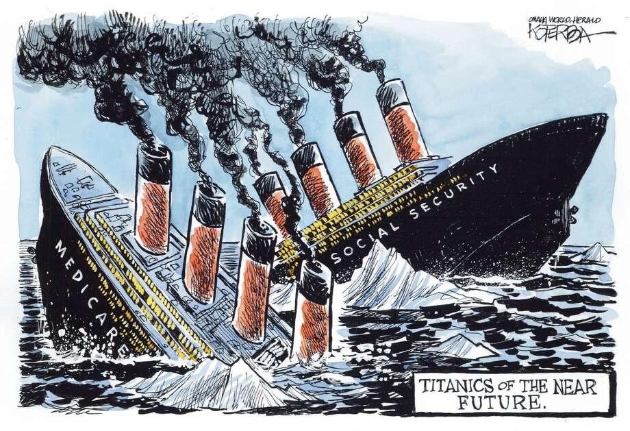 "Jeff Koterba color cartoon for 4/25/2012 ""Social Security Medicare Titanic"""