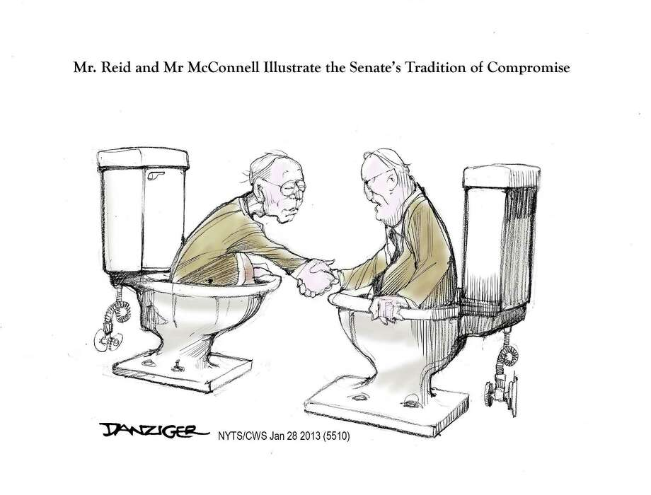Harry Reid, Mitch McConnell, compromise, tradition of senate, political cartoon Photo: JEFF DANZIGER / c Jeff Danziger 2013