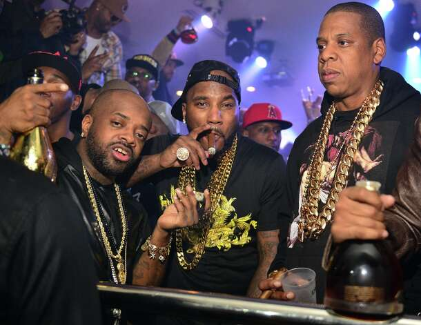 Jermaine Dupri, Young Jeezy and Jay-Z attend the So So Def anniversary party hosted by Jay Z at Compound on February 23, 2013 in Atlanta, Georgia. Photo: Prince Williams, Getty Images / 2013 Prince Williams