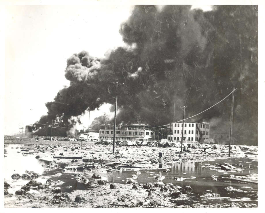 Desolation: This long-range photograph shows the main plant of the huge Monsanto Chemical company after an explosion and subsequent fires raged through it Wednesday. The laboratory building was completely destroyed by the blaze, April 16, 1947. Photo: Caroline Valenta : Post Photo / email from John Gonzales