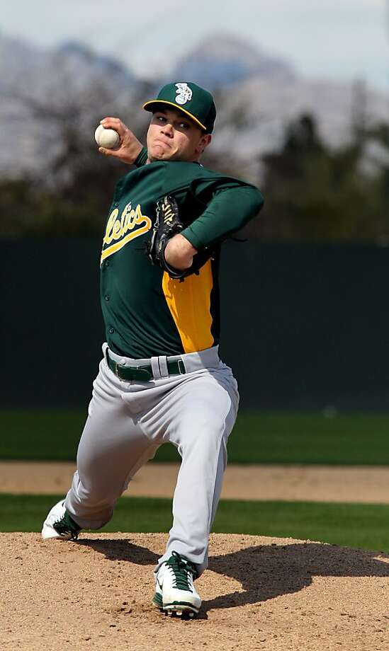 Sonny Gray, 23, the A's top pick in the 2011 draft, hopes for a call-up from Sacramento, where there's less starting- pitching depth than in previous years. He pitched two innings Monday. Photo: Lance Iversen, The Chronicle