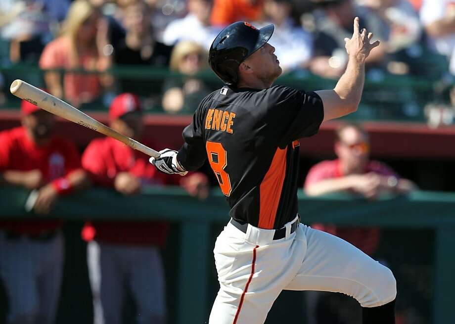 In his quirky way, Giants outfielder Hunter Pence attacks the game with a raw intensity that can't be taught. Photo: Lance Iversen, The Chronicle