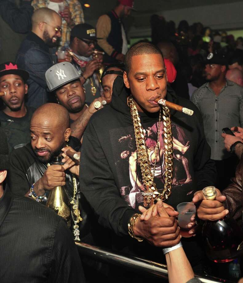 Jermaine Dupri and Jay-Z attend the So So Def anniversary party hosted by Jay Z at Compound on February 23, 2013 in Atlanta, Georgia. Photo: Prince Williams, Getty Images / 2013 Prince Williams