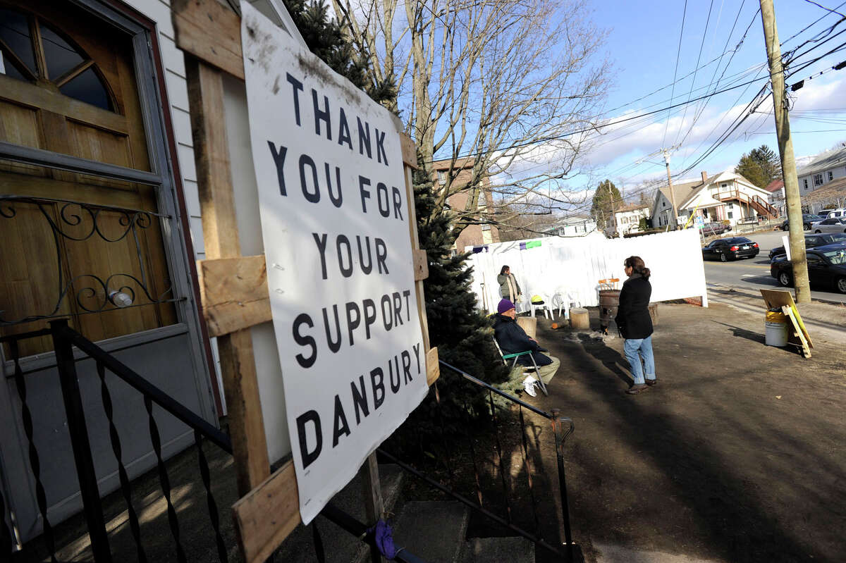Striking Healthbridge workers at the Danbury Health Care Center on Osbrone Street in Danbury, Conn. are set to go back to work March 3.
