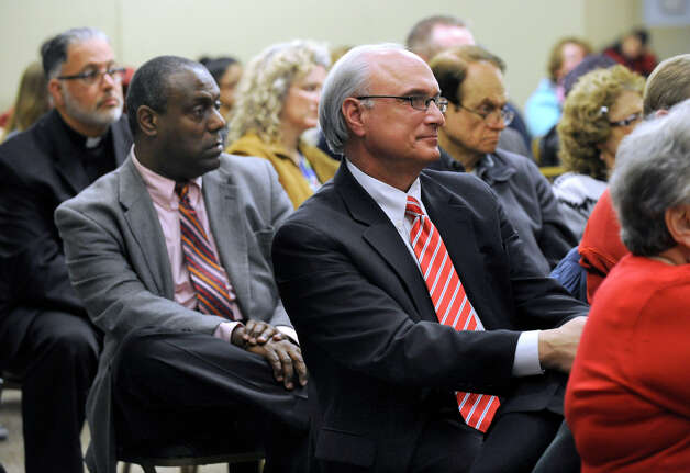 "Ridgefield First Selectman Rudy Marconi, center, attends a forum titled ""Greater Danbury Unites in Violence Prevention,"" organized by the Association of Religious Communites, at the United Jewish Center in Danbury, Conn. Monday, Feb. 25, 2013. Photo: Carol Kaliff / The News-Times"