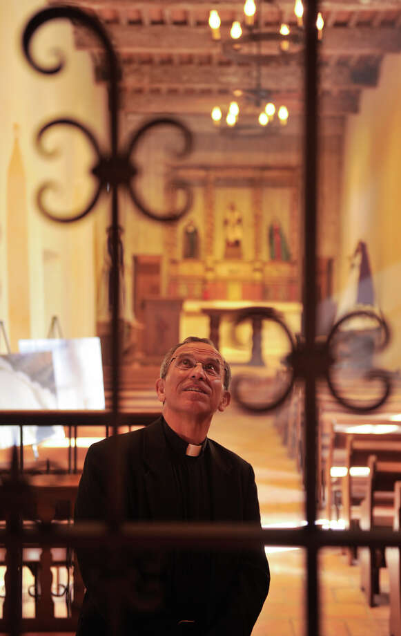 Fr. David Garcia, Archdiocesan Director of the Old Spanish Missions, looks over the inside of Mission San Juan Capistrano during a media tour Monday following the completion of a $2.2 million restoration. Photo: Robin Jerstad