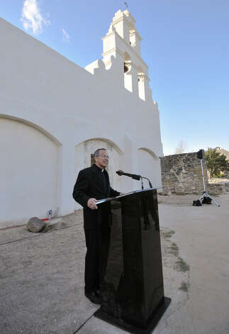 Fr. David Garcia, Archdiocesan Director of the Old Spanish Missions speaks during a news conference to announce the completion of a $2.2 million restoration to Mission San Juan Capistrano Monday afternoon. Photo: Robin Jerstad