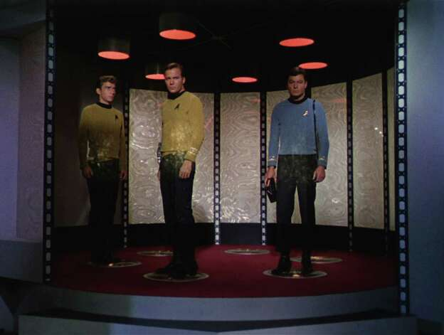 What would it take to teleport Crewman Green, Captain Kirk and Dr. 'Bones' McCoy in this  scene from 'The Man Trap,' the premiere episode of 'Star Trek' which aired on Sept. 8, 1966? Photo: Frame Grab, Getty / 2008 CBS WORLDWIDE INC.