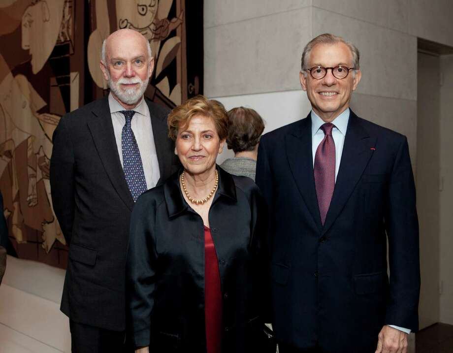 "Guggenheim Museum director Richard Armstrong, from left, curator Carmen Gimenez and MFAH director Gary Tinterow at the patrons dinner for ""Picasso Black and White"" at the Museum of Fine Arts, Houston. Photo: Jenny Antill"