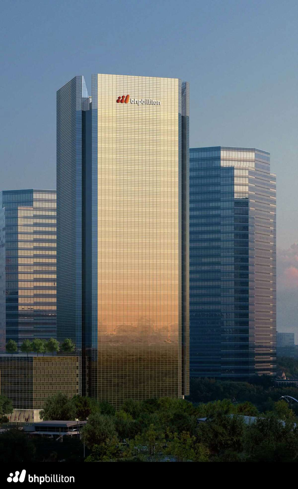 An artist's rendering shows the new BHP building to be contructed at 1500 Post Oak Blvd.