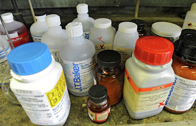 Bottles of chemicals in a teaching lab at the Cogswell Laboratory at RPI on Monday Feb. 25, 2013 in Troy, N.Y.  (Lori Van Buren / Times Union) Photo: Lori Van Buren