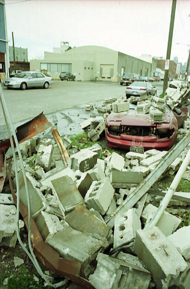 This picture, taken south of Safeco Field, shows the damage from the 6.8 magnitude Nisqually earthquake on Feb. 28, 2001. Photo: Don Marquis/MOHAI Seattle Post-Intelligencer Collection/seattlepi.com File