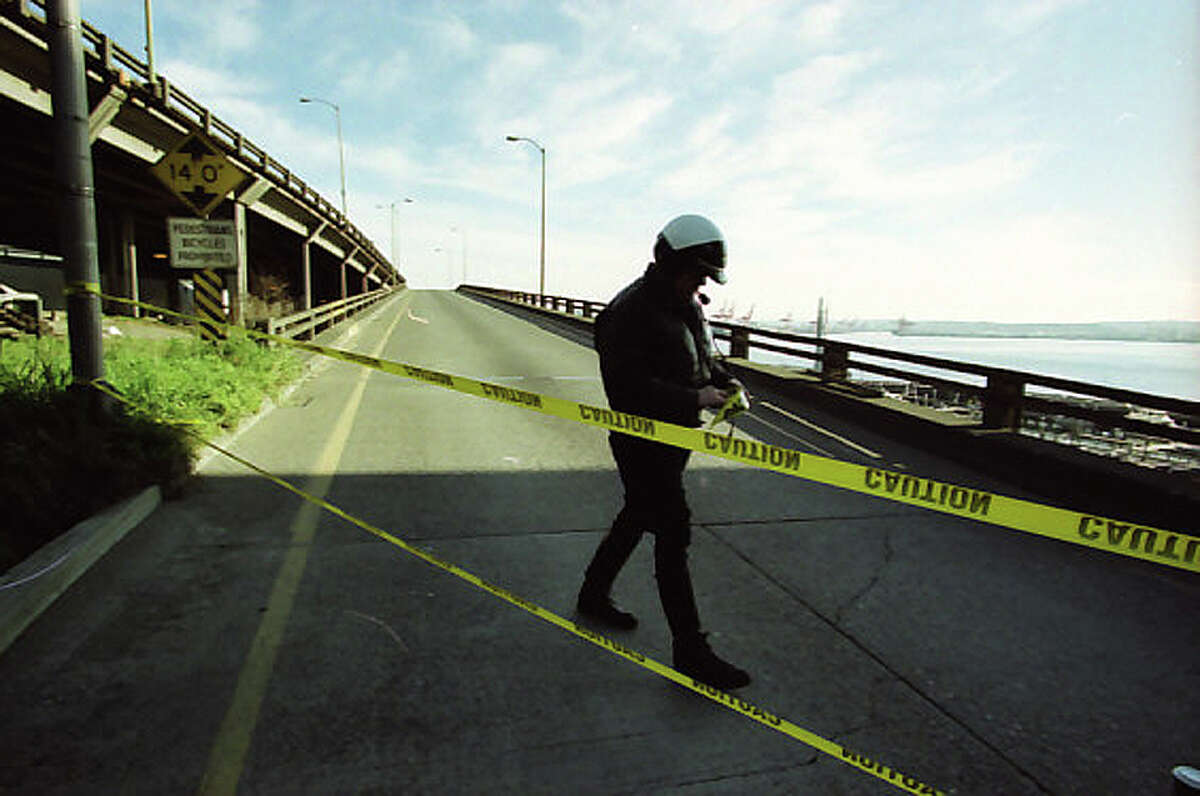 The Alaskan Way Viaduct, which cracked during the Feb. 28, 2001 Nisqually earthquake, was closed to drivers until inspectors could fully check the damage.
