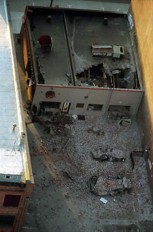 This previously unpublished picture from the air shows damage near Safeco Field after the Feb. 28, 2001 Nisqually earthquake. Photo: Meryl Schenker/MOHAI Seattle Post-Intelligencer Collection/seattlepi.com File