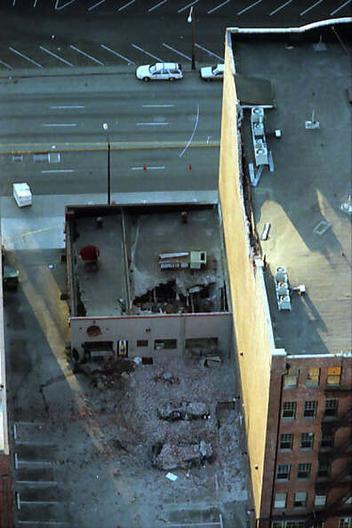 This previously unpublished picture from the air shows damage near Safeco Field after the Feb. 28, 2