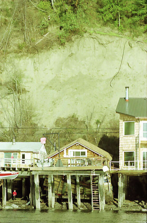 Nisqually earthquake damage to Tacoma's historic Salmon Beach neighborhood, Feb. 28, 2001. Photo: Paul Joseph Brown/MOHAI Seattle Post-Intelligencer Collection/seattlepi.com File