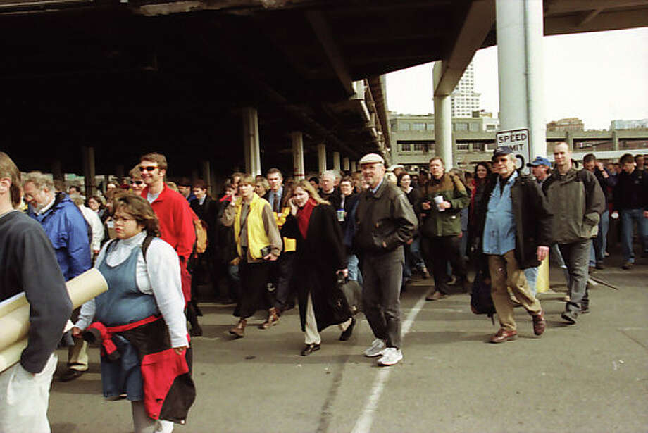 After the Nisqually earthquake shook Seattle on Feb. 28, 2001, photographer Phil H. Webber went to Colman dock and captured these images. They have been preserved and archived through a P-I donation to the Museum of History and Industry, but until now have not previously been published. Photo: Phil H. Webber/MOHAI Seattle Post-Intelligencer Collection/seattlepi.com File