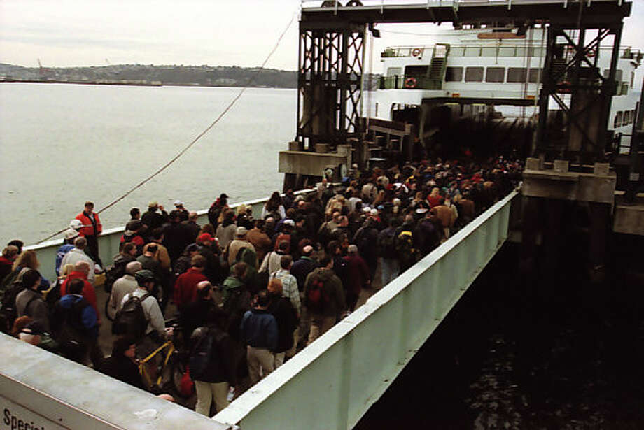Here another previously unpublished picture of people on a Bainbridge Island-bound ferry after the Nisqually earthquake of Feb. 28, 2001. Photo: Phil H. Webber/MOHAI Seattle Post-Intelligencer Collection/seattlepi.com File