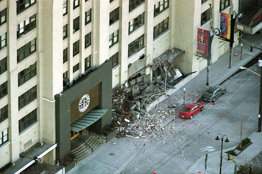 The Starbucks headquarters in Sodo suffered extensive damage from the Feb. 28, 2001 Nisqually earthquake. These previously unpublished photos were taken shortly after the 10:54 a.m. quake. Photo: Meryl Schenker/MOHAI Seattle Post-Intelligencer Collection/seattlepi.com File
