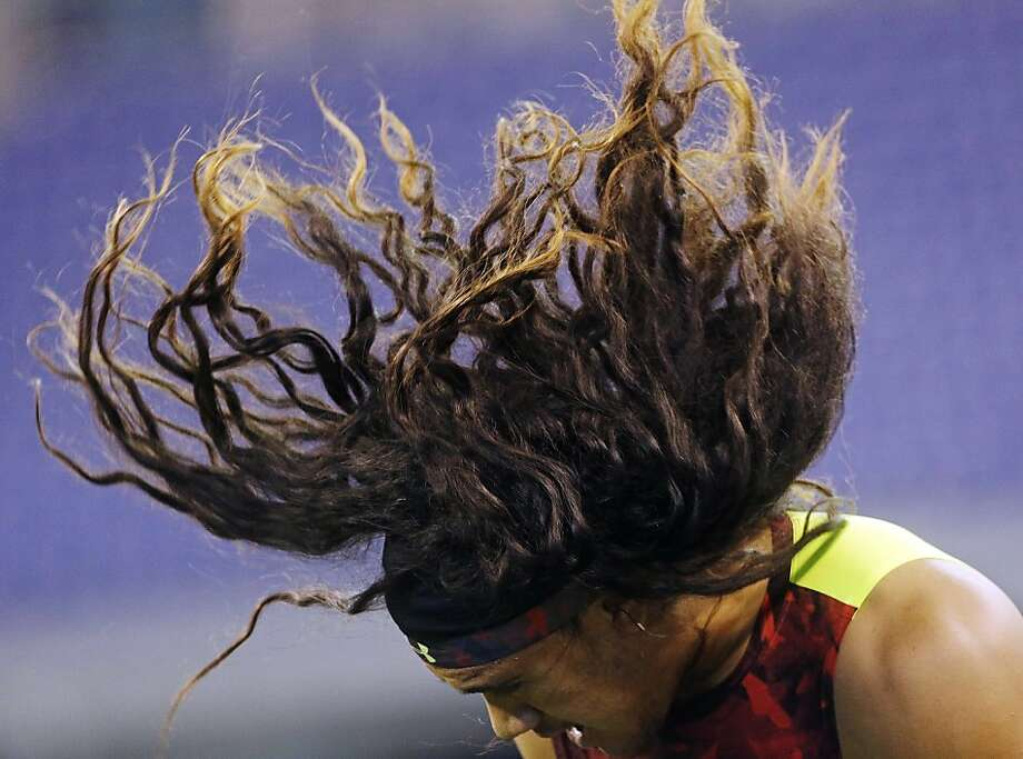 But he did score points for most  Polamalu-like hair:UNLV linebacker John Lotulelei ran a 4.84 40-yard dash, good for only 21st at his position, at the NFL scouting combine in Indianapolis. Photo: Dave Martin, Associated Press