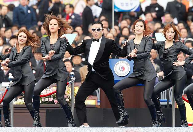 "Singer Psy performs during the inauguration ceremony of South Korea's new President Park Geun-Hye at parliament in Seoul on February 25, 2013. Park Geun-Hye became South Korea's first female president on February 25, vowing zero tolerance with North Korean provocation and demanding Pyongyang ""abandon its nuclear ambitions"" immediately.  Photo: Kim Hong-ji, AFP/Getty Images"
