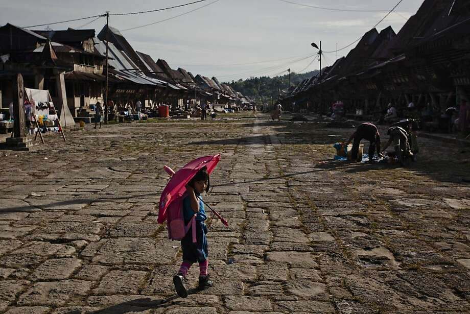 A child walks in Bawomataluwo village on February 22, 2013 in Nias Island, Indonesia. Some of historians and archaeologists estimated this is one of remaining Megalithic cultures in existence today. Stone Jumping is a traditional ritual, with locals leaping over large stone towers, which in the past resulted in serious injury and death. Stone jumping in Nias Island was originally a tradition born of the habit of inter tribal fighting on the island of Nias.  Photo: Ulet Ifansasti, Getty Images