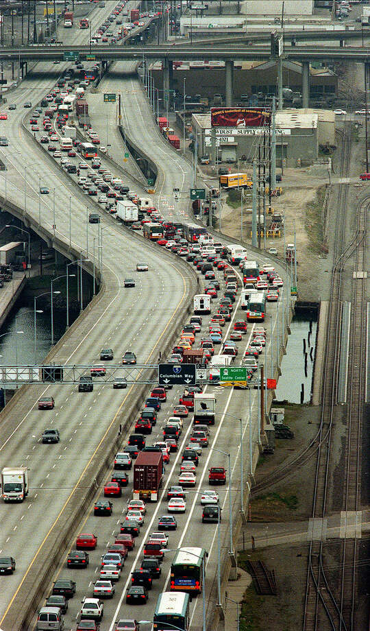 This was one of the published P-I photos taken after the 2001 Nisqually Earthquake, and the original caption read: Eastbound traffic is backed up on the West Seatte bridge around 10 a.m. Thursday morning, March 1, 2001. Much of the backup was caused by the continued closure of the Alaskan Way Viaduct. due to earthquake damage. Photo: Dan DeLong/seattlepi.com File / -