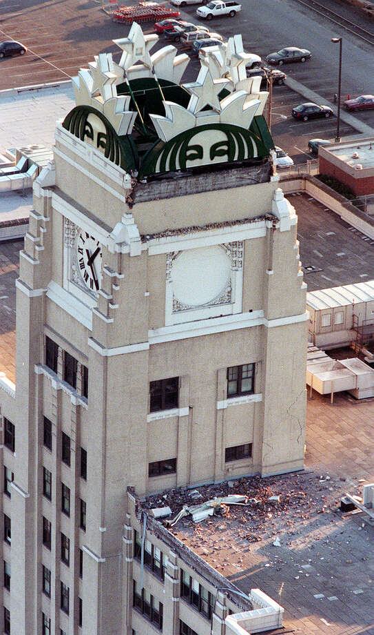 This was one of the published P-I photos taken after the 2001 Nisqually Earthquake, and the original caption read: The top of Starbucks corporate headquarters was damaged in the earthquake. Photo: Meryl Schenker/seattlepi.com File / -