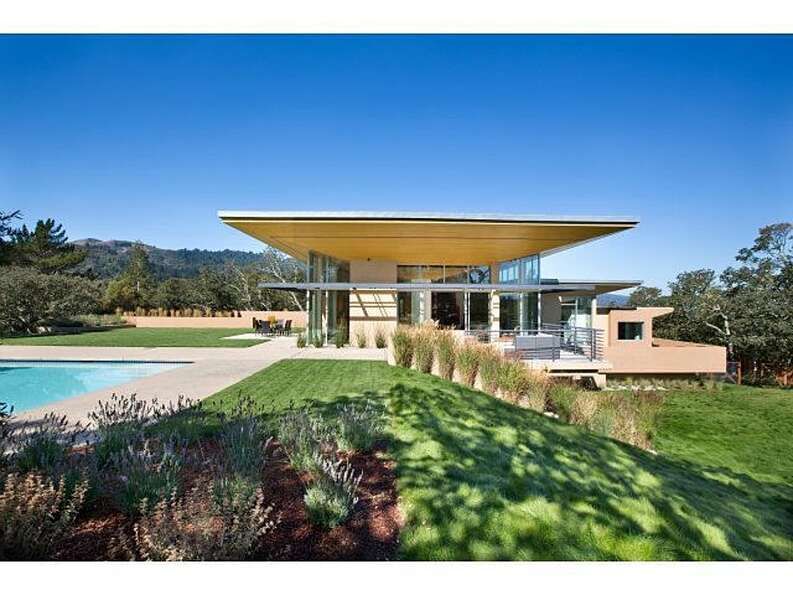 One of the most expensive listings in Portola Valley is this modern creation at 1 Grove Court, liste