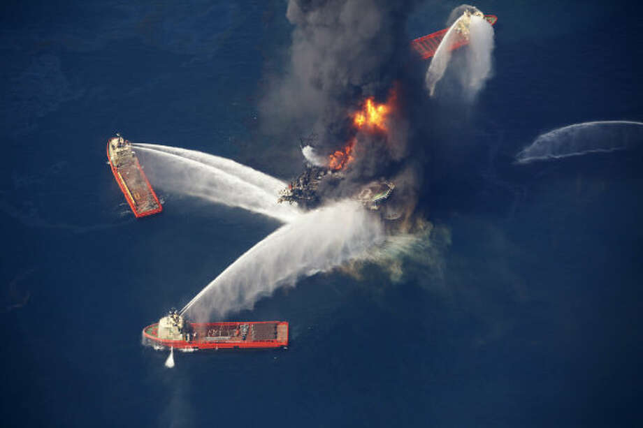 The Deepwater Horizon oil rig burns in the Gulf of Mexico on April 21, 2010, more than 50 miles southeast of Venice on Louisiana's tip.