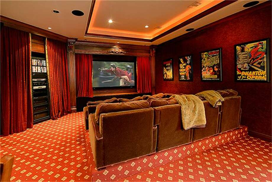 Theater easily holds two rows of seating with plenty of space left over. Photo: Better Homes And Gardens Real Estate Gary Greene