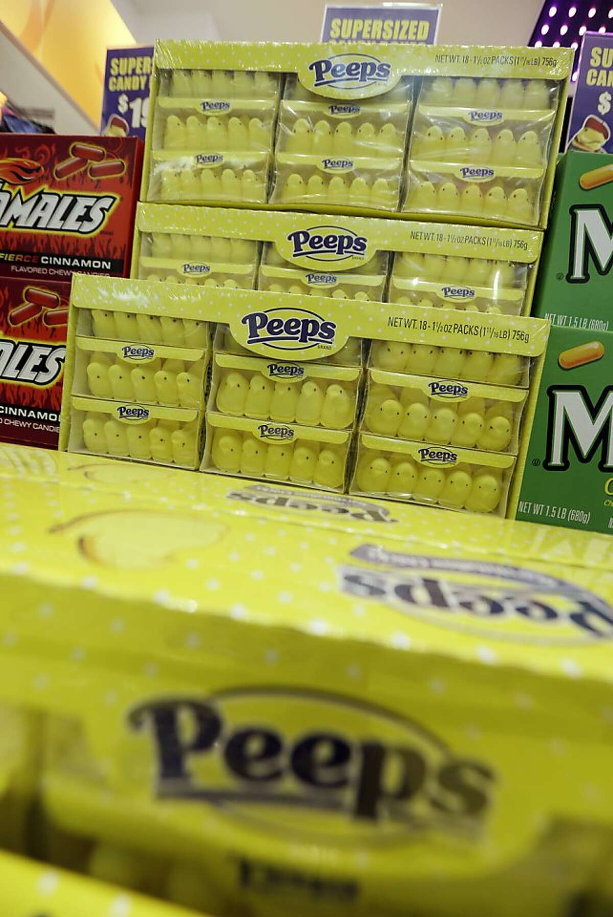 Shown are boxes of Peeps at the Peeps & Company store on Wednesday, Feb. 13, 2013, in Bethlehem, Pa. (AP Photo/Matt Rourke)