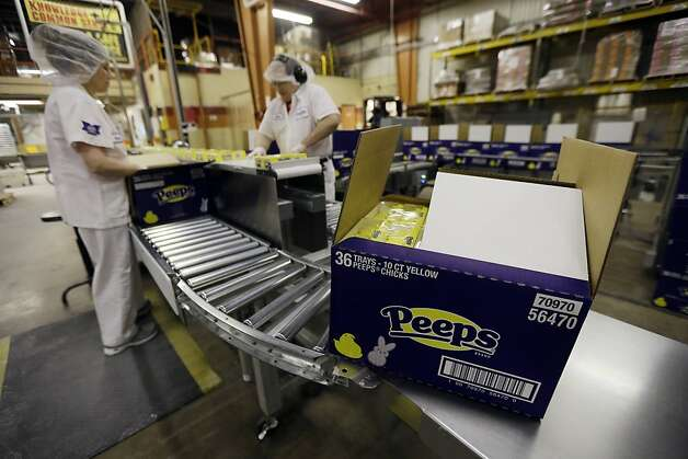 Peeps move through the manufacturing process at the Just Born factory Wednesday, Feb. 13, 2013, in Bethlehem, Pa. (AP Photo/Matt Rourke) Photo: Matt Rourke, Associated Press