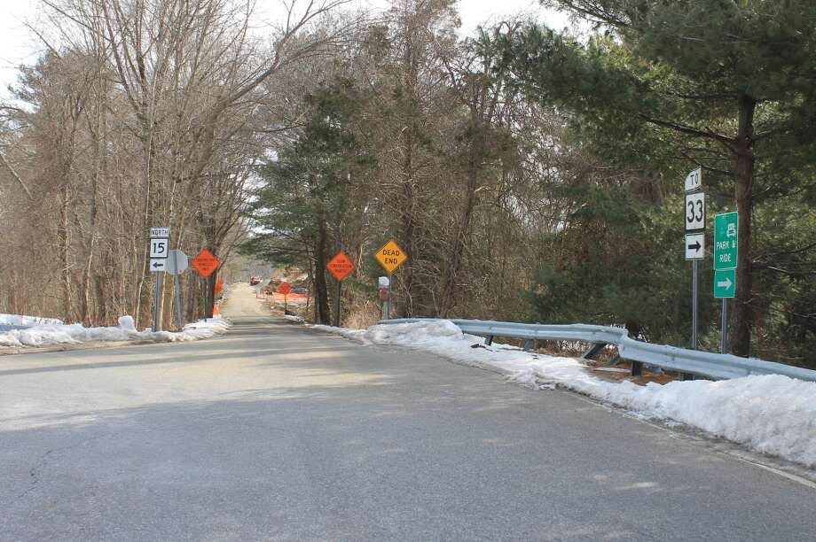 The entrance road to the new Family Y at the Y's Mahackeno campus, at the northbound on/off ramp of Exit 41 on the Merritt Parkway at Wilton Road/Route 33.