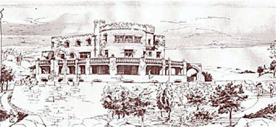 This is an architectural rendering of the Hearthstone Castle at Tarrywile Park in Danbury, drawn in 1897. The castle is largely a ruin today.  A study group is now writing a plan that may help the city, which purchased the castle in 1985, to decide what to do with the building. Photo: Contributed Photo