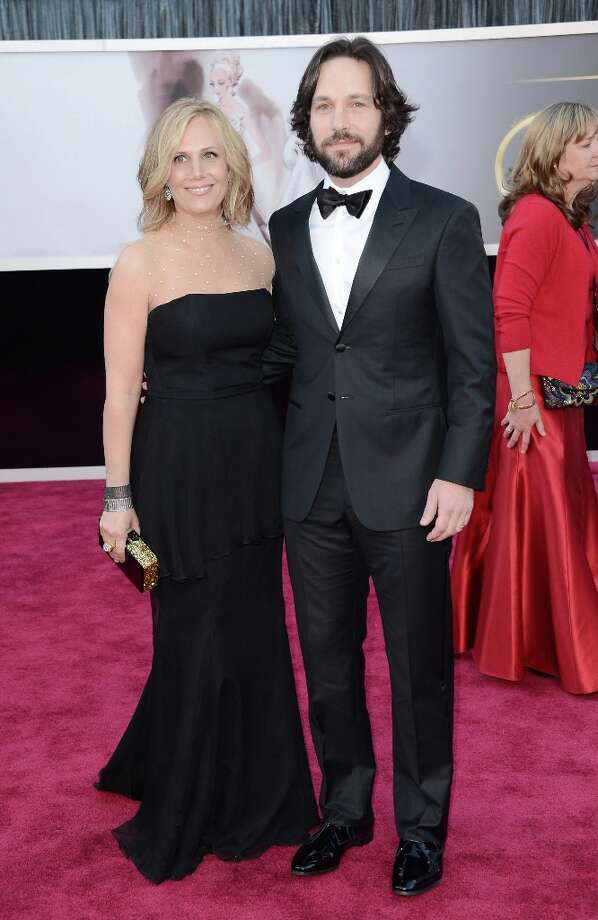 Actor Paul Rudd (R) and wife Julie Yaeger arrive at the Oscars at Hollywood & Highland Center on February 24, 2013 in Hollywood, California. Photo: Jason Merritt, Getty Images / 2013 Getty Images