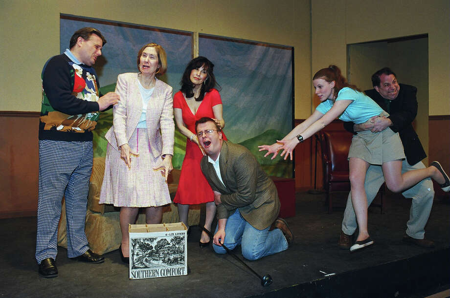 "Dickie (Tom Petrone), Muriel (Marcia Vinci), Pamela (Deborah Burke), Louise (Sarah Smegal), Henry (Kevin McDonough) and Justin (Morgan Flagg) play out one of the many comedic scenes that await viewers of the Town Players of New Canaan production of Ken Ludwig's ""The Fox on the Fairway."" The show runs at the Powerhouse Theatre in New Canaan, Conn., Friday and Saturday, Feb. 22 to 23, and March 1, 2, 8, 9, 2013, at 8 p.m.; Sunday matinees set for Feb. 24 and March 3 at 2:30 p.m. For tickets, call 203-966-7371. Contributed photo/Tom Hughey Photo: Contributed Photo"