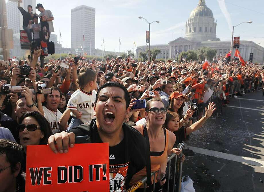 After the San Francisco Giants won the World Series, Wilfredo Santillan, of Daly City, screams as the Giants pass by during the victory parade on Wednesday Nov. 03, 2010 in San Francisco, Calif. Photo: Mike Kepka, The Chronicle