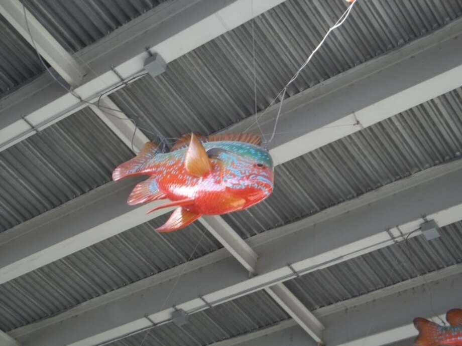 One of the Fiberlgass fish hanging under Interstate 35 is tangled.