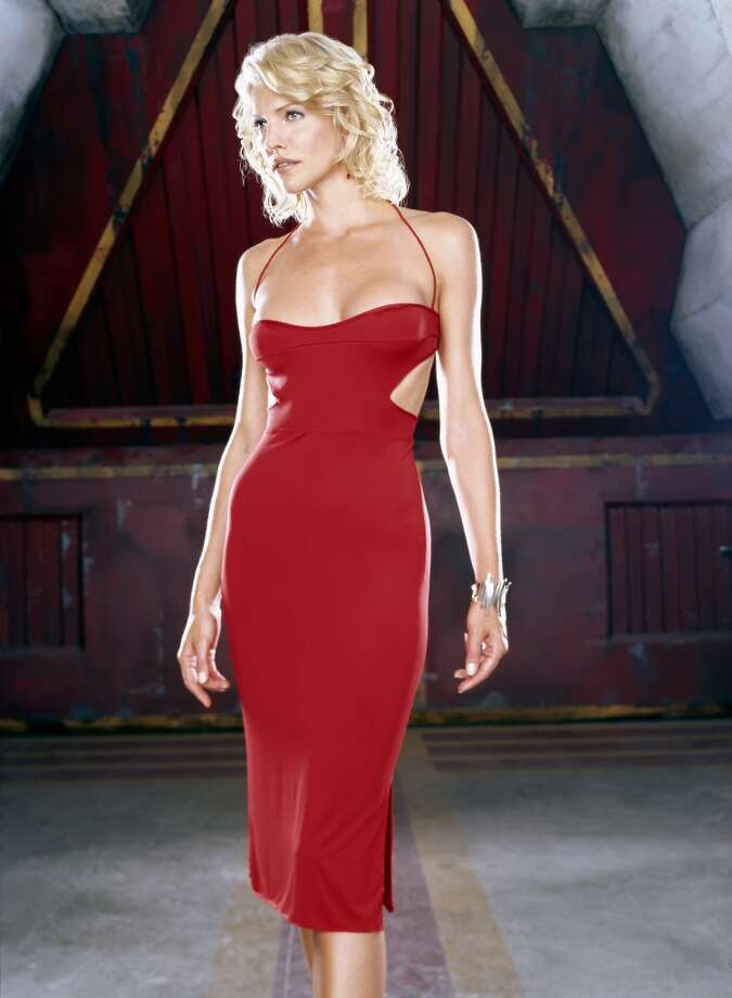 Helfer in the iconic red dress of humanoid Cylon ''Number Six.''