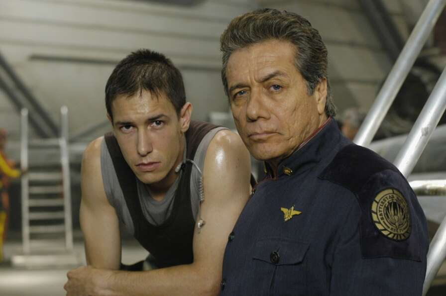 Bodie Olmos, left, the son of James Edward Olmos, right, played Brendan ''Hot Dog'' Costanza.