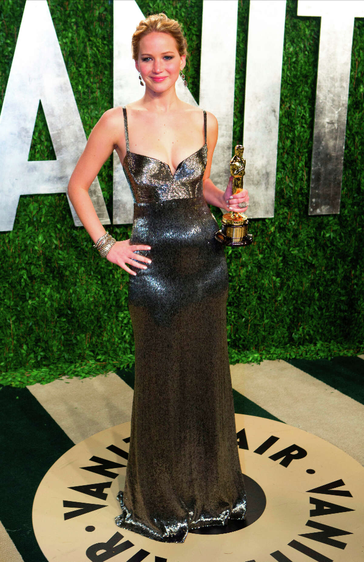 Jennifer Lawrence in Calvin Klein at the Vanity Fair party after the Oscars.