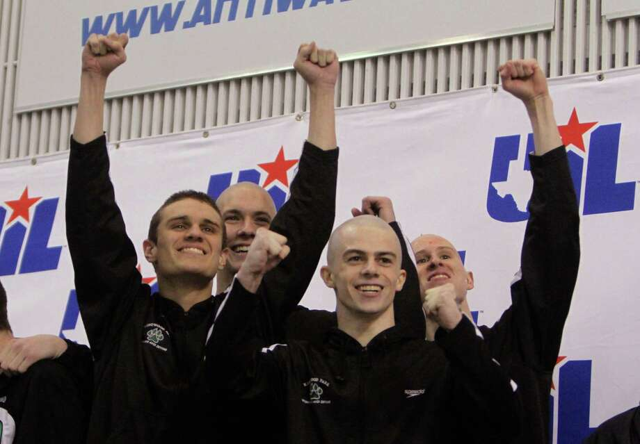 4A 200-yard medley relay championsKingwood Park - From left are Mark Garner, David Stolarz, Sam Poulin and Nathan Townsend. Photo: Jason Fochtman, MBR / Conroe Courier