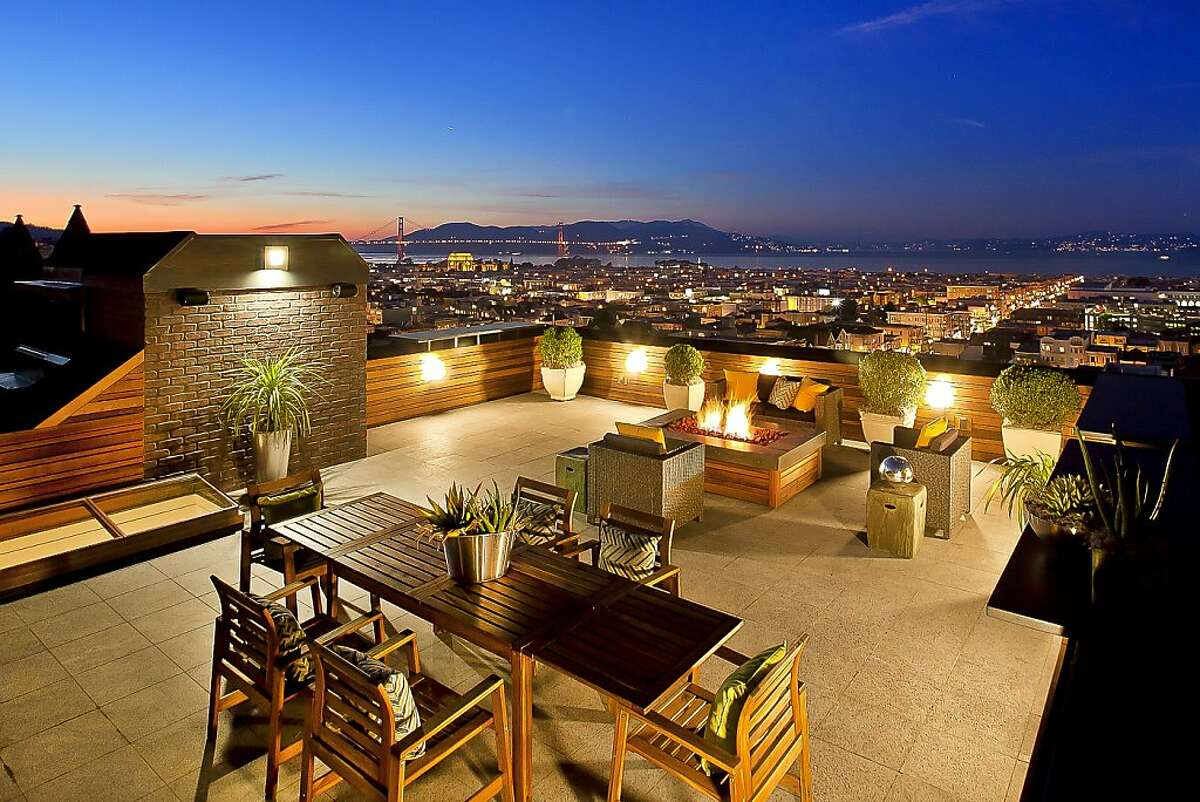 The roof deck provides panoramic views of downtown San Francisco.