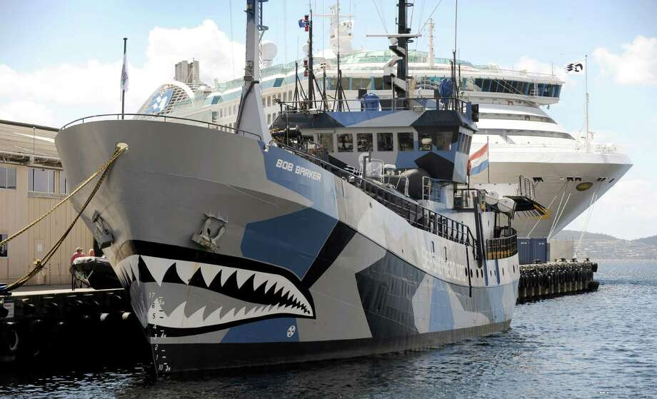 Militant environmentalist group Sea Shepherd ship 'Bob Barker' is moored in Hobart as it prepares to leave to confront the Japanese whaling fleet in the Southern Ocean on Dec.13, 2011.  Sea Shepherd are sending a flotilla of three vessels crewed by 88 people from 25 different nationalities in an attempt to prevent the whale hunt. Photo: WILLIAM WEST, Getty Images / 2011 AFP
