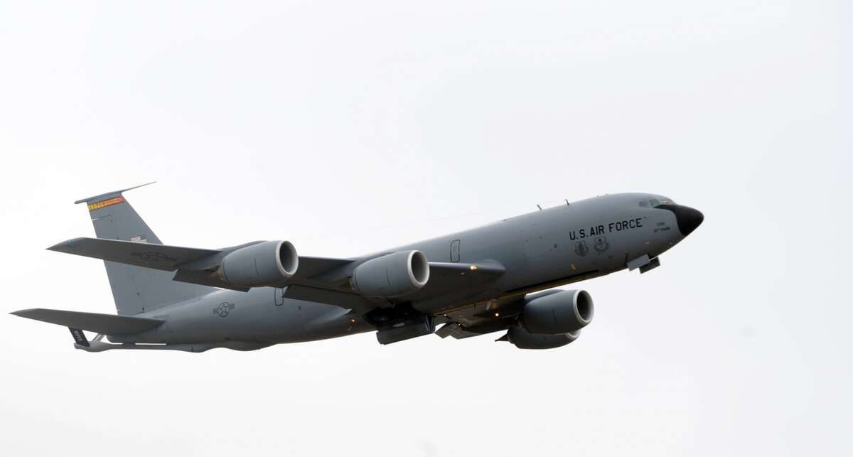 The first KC-135R Stratotanker takes-off one last time, on Feb. 21, 2013, from Altus Air Force Base.
