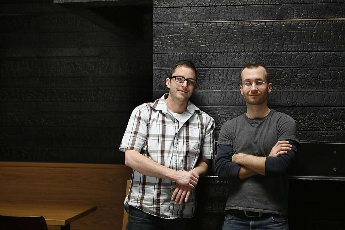 President Zarin Gollogly (l-r) and principal Spencer Lafrenz of Harrison Woodworking + Design at Hi-Lo BBQ in San Francisco, Calif., on Thursday, February 21, 2013, where they made the custom scorched walls and tables.