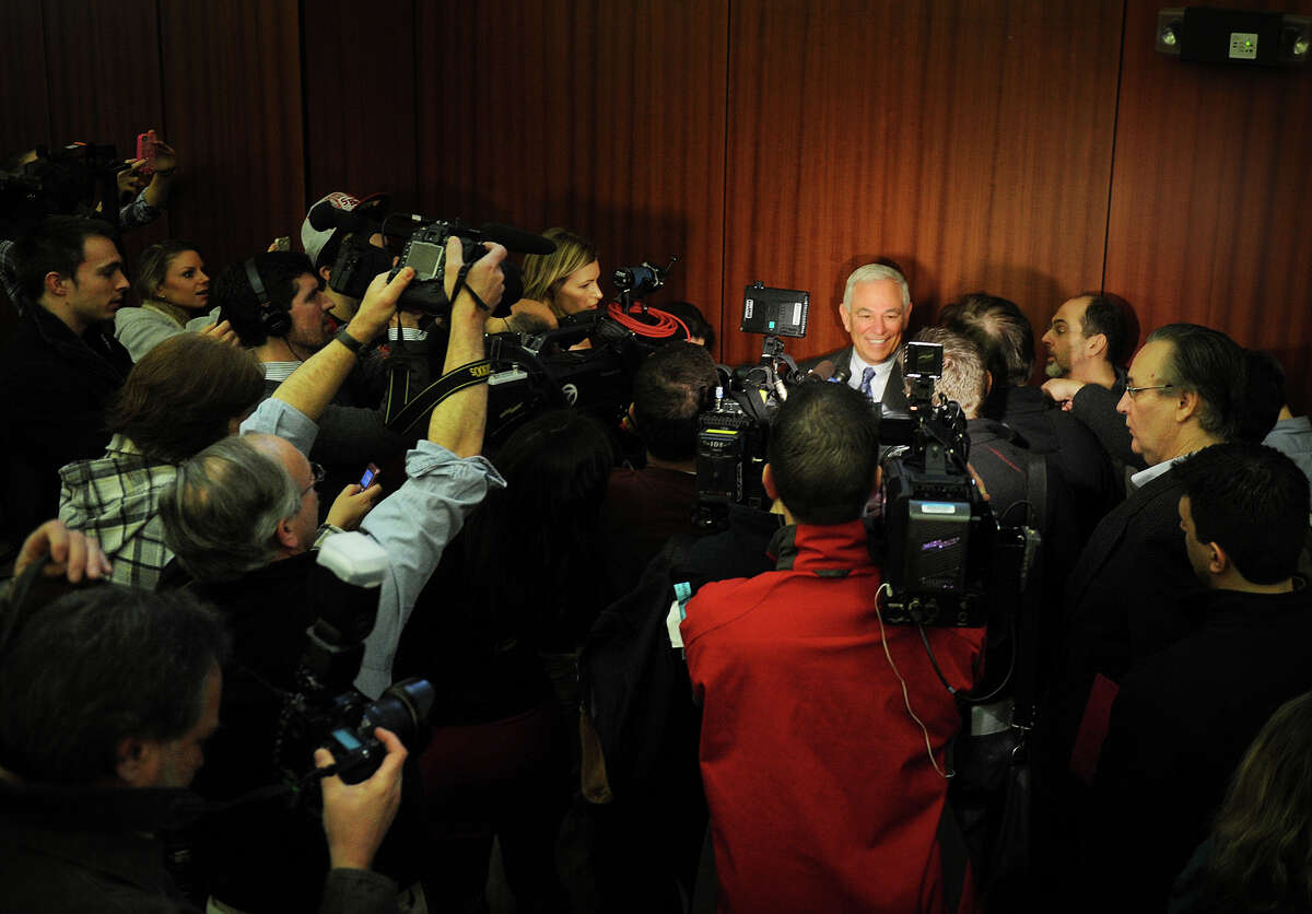 Bobby Valentine is surrounded by the press as he is interviewed following his introduction as the new executive director of intercollegiate athletics at Sacred Heart University in Fairfield on Tuesday, February 26, 2013.