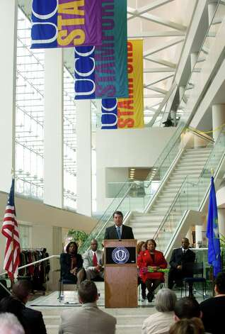 Stamford Mayor Michael Pavia speaks during the 9th annaul Black History Month celebration at the University of Connecticut's Stamford campus on Tuesday, February 26, 2013. Photo: Lindsay Perry / Stamford Advocate